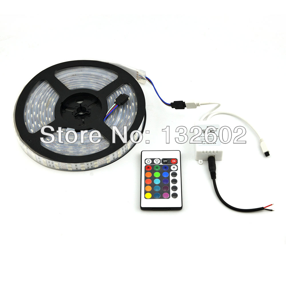 IP65 Soft Silicone Tube Waterproof RGB 5050 5M 600 LEDs Two Row Flex SMD Strip & 24 key IR Remote Controller 12V DC 5m dc12v 5050smd 150leds ldp6803 ic magic dream color ip66 silicone waterproof flex led strip 133 programs rf remote controller