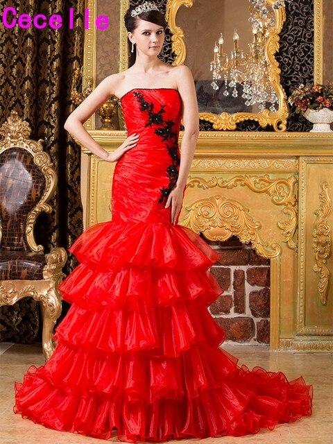 Rot Schwarz Mermaid Gothic Brautkleider Mit Farbe Farbige Nicht ...