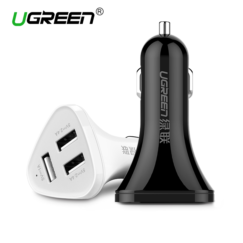 Ugreen Universal Car Charger 3 Ports USB Car Charger Adapter Socket 2.4A  2.4A 1A  for Samsung iPhone 6 6s for Xiaomi Huawei