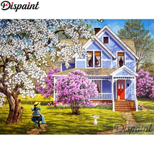 Dispaint Full Square/Round Drill 5D DIY Diamond Painting House flower Embroidery Cross Stitch 3D Home Decor A10758