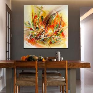 Image 3 - Mintura Modern sanatçı el boyalı soyut çiçekler tuval üzerine yağlıboya duvar tablosu duvar resmi oturma odası için ev dekor