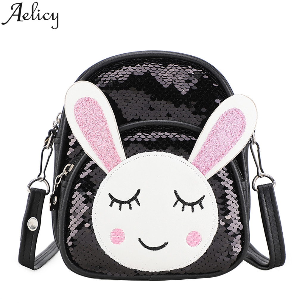 Aelicy Sequin Backpack Schoolbag Leathertraveling Girls Fashion Simple Shoulder-Bags