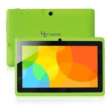 Yuntab Verde Pantalla Capacitiva Q88 7 pulgadas Android Allwinner A33 Quad Core 512 MB + 8 GB, Cámara Dual, External 3G Tablet PC