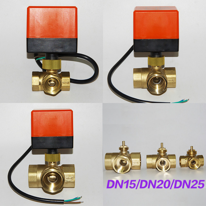 3 way motorized ball valve electric ball valve motorized valve Three line two way control AC220V DC12V DC24V DN15-DN25