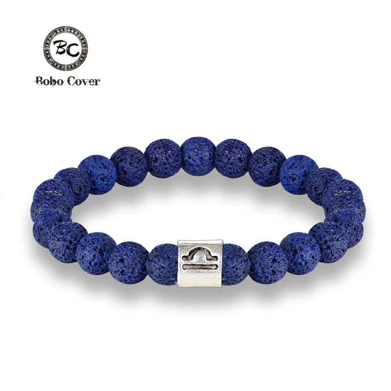Мужские 12 знаков зодиака 8 мм бусы браслеты ручной работы в винтажном стиле; Синий вулканического камня бусины эластичный ювелирные женские...