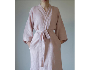 Image 5 - 7 Colors.Women Sleepwear Linen Pajamas Robes.Breathable Shower Spa Linen Robe Night Bathrobes Sleep Nightgown Robe Dressing Gown