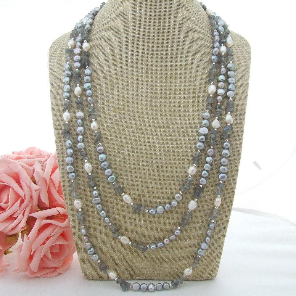 N022968 90 Grey Baroque Pearl Labradorite NecklaceN022968 90 Grey Baroque Pearl Labradorite Necklace