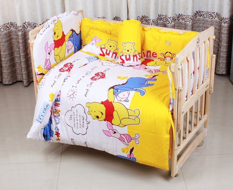 Promotion! 6PCS Bear Boys Baby Bedding Sets Crib Cot Bassinette Bumper (3bumper+matress+pillow+duvet)