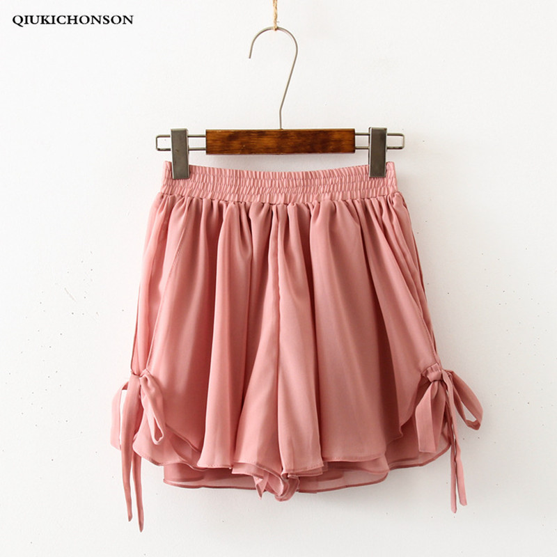 Casual Shorts Women 2019 Summer Korean Style Kawaii Bow Lace-Up High Waist Chiffon Shorts Loose Wide Leg Cullottes