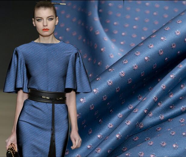 Fashion Blue floral stretch thin silk fabric dress tweed scrapbook printing Party satin tissu african chiffon
