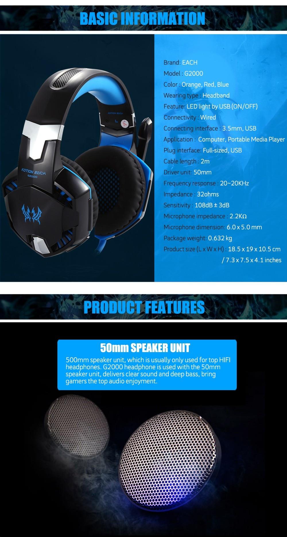 D'origine MYDASH G2000 Gaming Casque Deep Bass Ordinateur Jeu Casque avec microphone LED Lumiere pour ordinateur PC Gamer