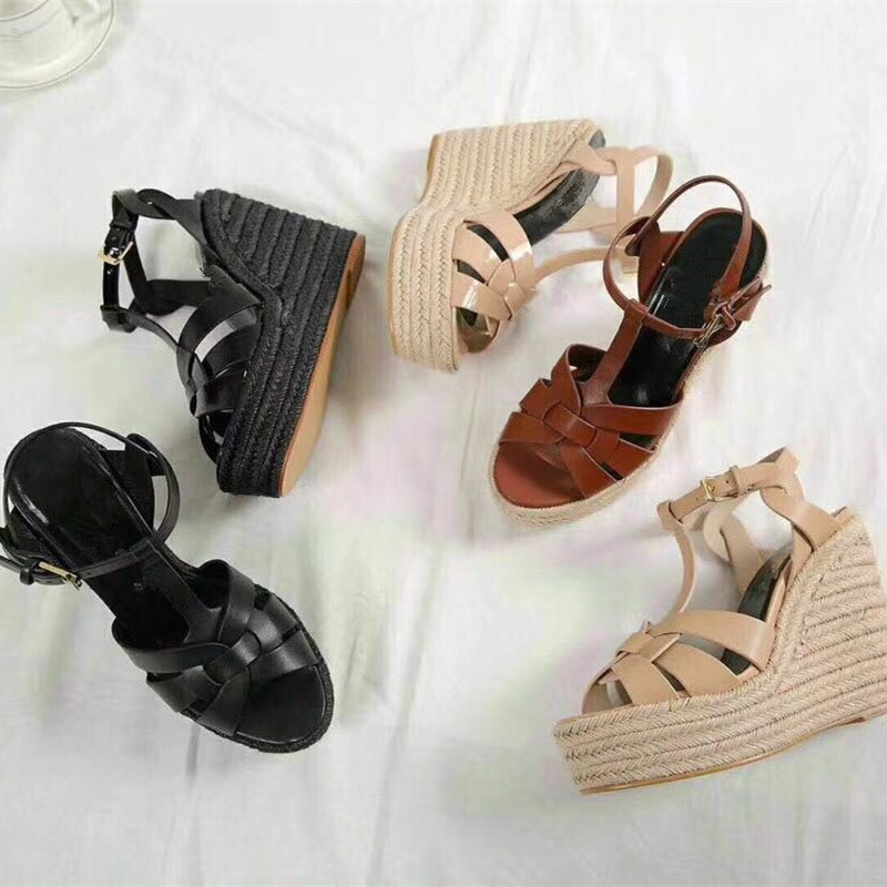 2018 Hot Summer Shoes Genuine Leather Embellished Women Brown /black T Strap Wedge Sandals 10.5cm High Heels