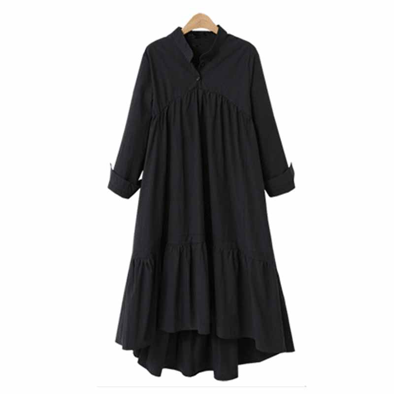 2018 Autumn Women Stand Collar Buttons Maxi Long Ruffled Vestidos Fashion Retro Loose Long Sleeve High Low Solid Party Dresses