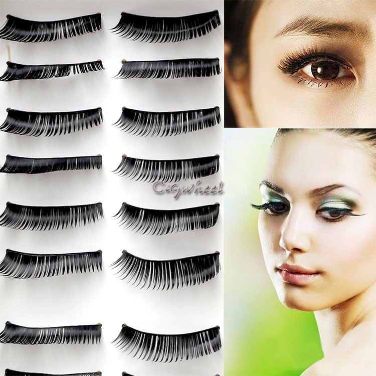 10 Pairs/Pack Women False Eyelashes Makeup Fake Long Cross/Natural ...