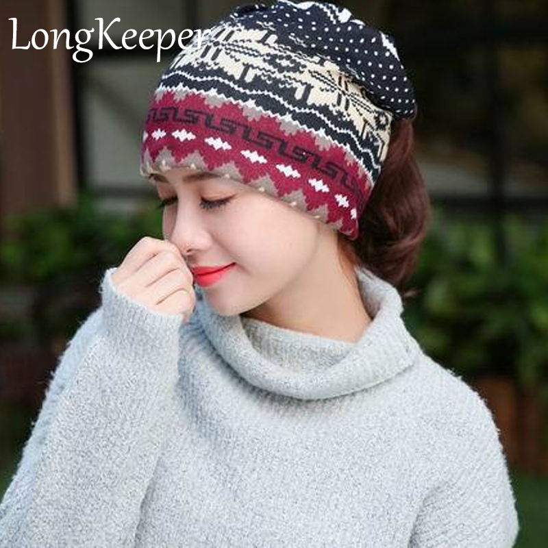 5283c5206 US $3.09 25% OFF|Vintage Women Snow Beanies 3 Colors Ethnic Hat Spring  Women Beanie Autumn Winter Hats For Women Multifunction Scarf Caps-in  Women's ...
