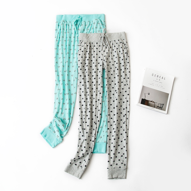 Simple print 100% cotton sleep bottoms women Spring plus size soft home Lounge pants women trousers casual Sleep pants