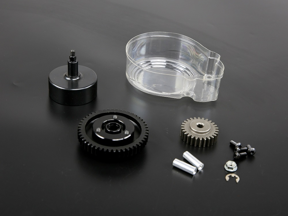 Clutch bell and Metal 48T&26T Super high speed gear Kit and plastic cover for 1/5 hpi rovan km baja 5b ss rc car gas parts double 2 spring clutch 7000rpm clutch assembly with alloy clutch mount fits 23 30 5cc gas engine zenoah cy hpi baja 5b ss 5t 5sc