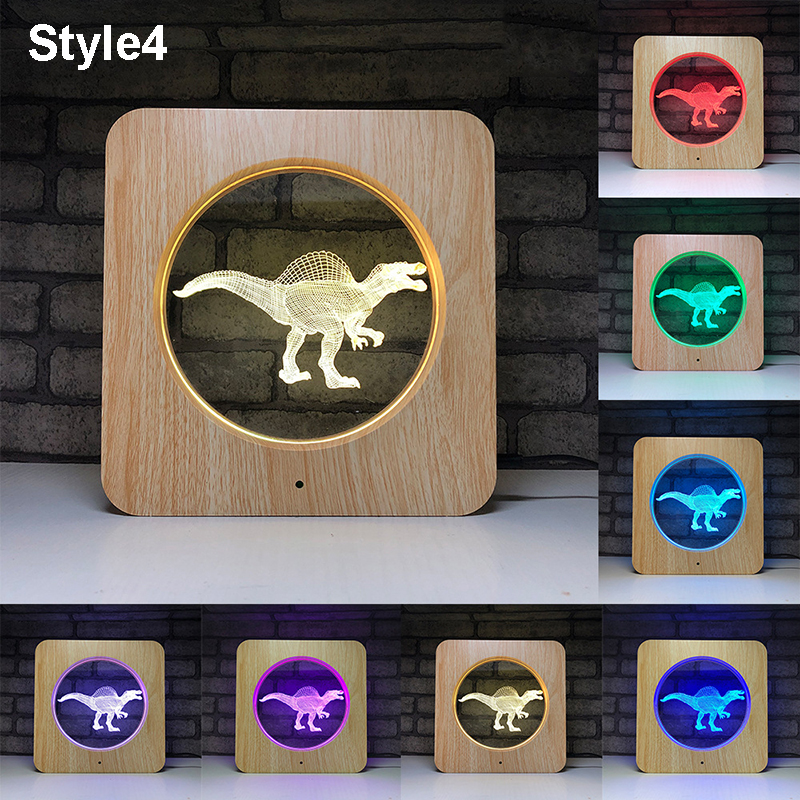 3D Dinosaur Projector Night Light Tyrannosaurus Rex Lamps Multicolor 7 colors change Battery Touch Remote Control Lamps for Kids in LED Night Lights from Lights Lighting