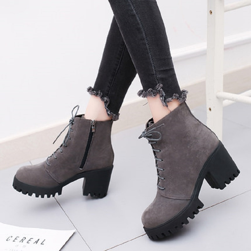 2018 new short tube autumn and winter women's boot thick with high-heeled solid color round head fashion casual warm boots wome 4