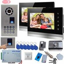 SUNFLOWERVDP Wired Video Door Phone Touch Key Door Bell Intercom Fingerprint Unlock Intercom For The House Rfid Door Lock 1v2