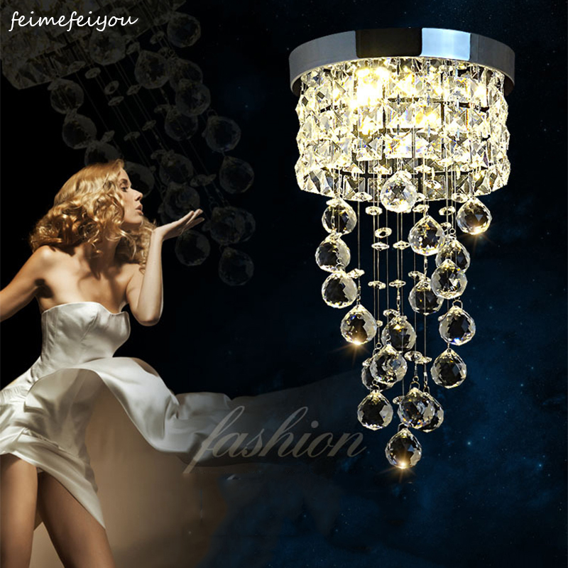 European modern LED crystal aisle lights living room hallway entrance balcony hotel hanging spiral staircase small ceiling lamp
