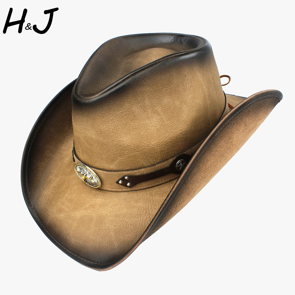 100% Leather 9 Stlye Western Cowboy Hat For Women Men Fedora Hat Gentleman Dad Cowgirl Sombrero Hombre Jazz Caps Size 58-59CM 2