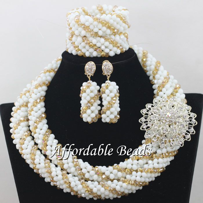 Wholesale African Ladies Jewelry Set Best Nigerian Wedding Necklace Best Design Handmade Item NCD087Wholesale African Ladies Jewelry Set Best Nigerian Wedding Necklace Best Design Handmade Item NCD087