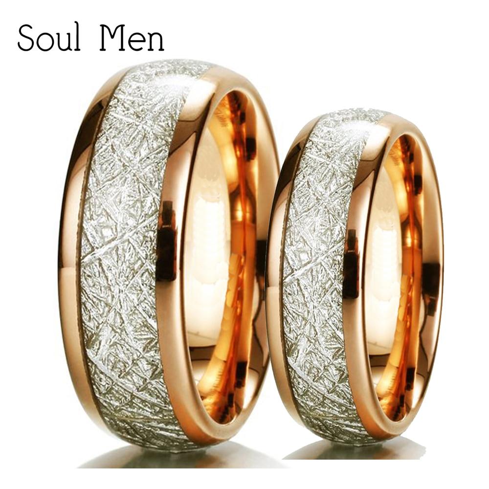 Soul Men Rose or météorite His & her promis anneaux ensemble 8mm Durable tungstène bande pour homme 6mm naturel anillos pour femme
