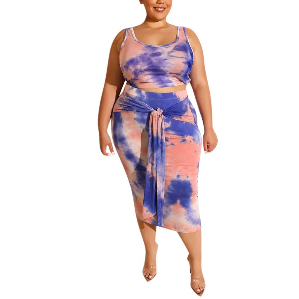Summer Sexy Women 2 Piece Mini Dress Sleeveless Print Tank Crop Top Skirts Set Plus Size 4XL two piece set conjuntos de mujer
