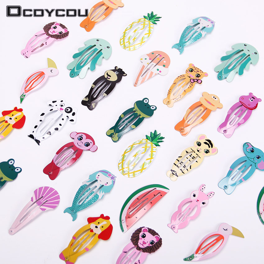 12PCS Fashion Girl Fruits Animals Hairpin   Headwear   Kids Barrettes Hair Clips Jewelry Snap Clips Children Hair Accessories