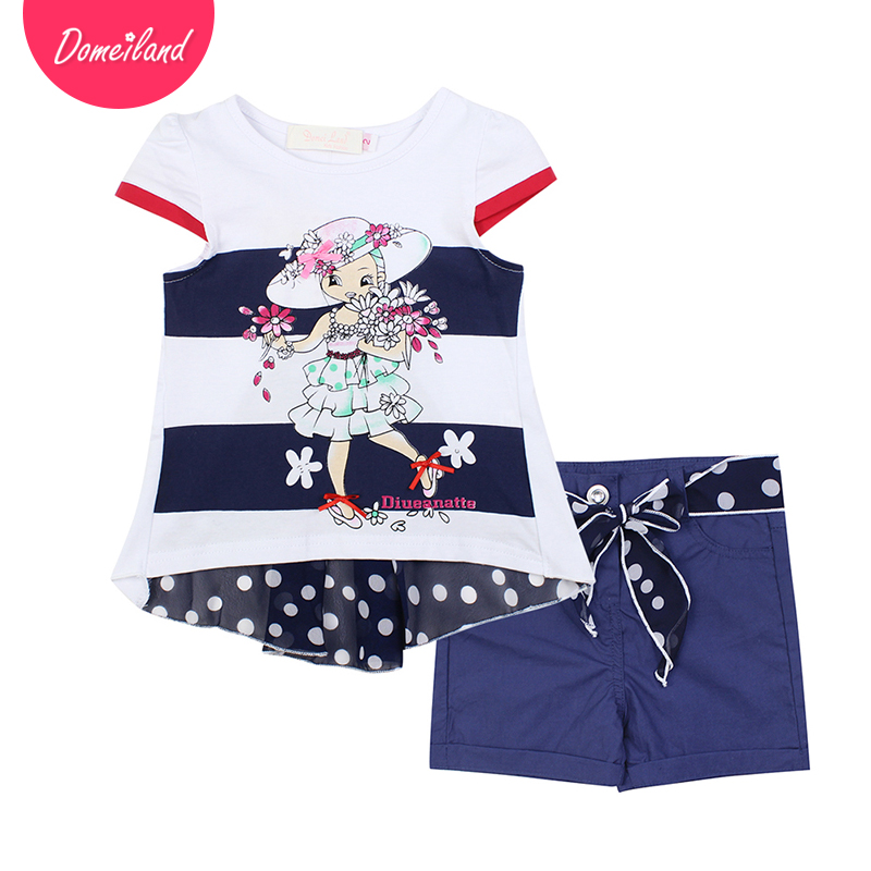 2017 fashion brand domeiland summer girl clothing set outfits cartoon kids cotton short sleeved ruffle shirts Dots shorts suits cotton cartoon t shirts