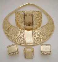 2015 Q P 18K Gold Plated Nigerian Wedding African Beads Jewelry Set Crystal Saudi Jewelry Sets