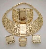2015 Q P 18K Gold Plated Nigerian Wedding African Beads Jewelry Set Crystal Saudi Jewelry Sets