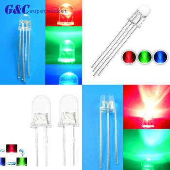 цена на 100PCS F3/F5 LED Diodes Light 3Pin Common Anode/Cathode 3mm 5mm Round Dual colour Clear Red-Green/Red-Blue Kit