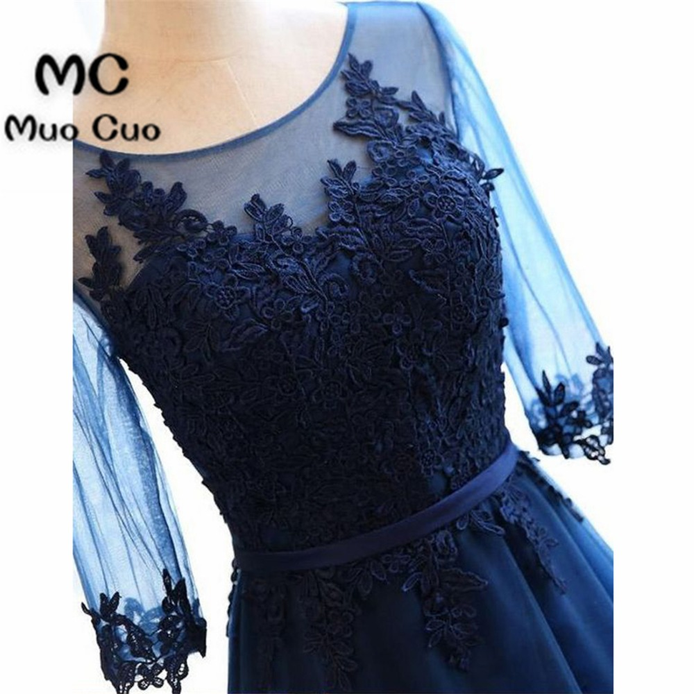 New Arrival 2018 Illusion Prom   Dresses   with Half Sleeve Appliques Scoop Lace Up Formal Women's   Evening     Dresses   Mother   Dress