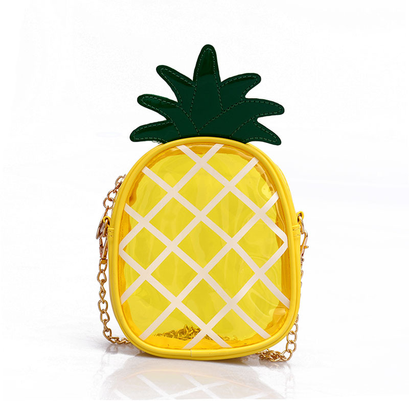 PU Cute Handbag  Pineapple Bag With Chain Hollow Out Mini Child's Fruit Bags Purse For Girls Outdoor Sport Bag Training Gym Bag