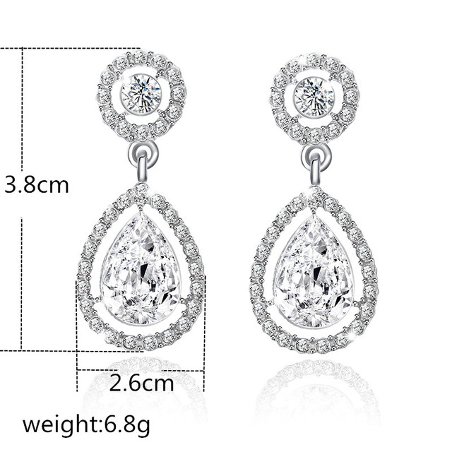 Women's Drop Shaped White Crystal Studs Earrings