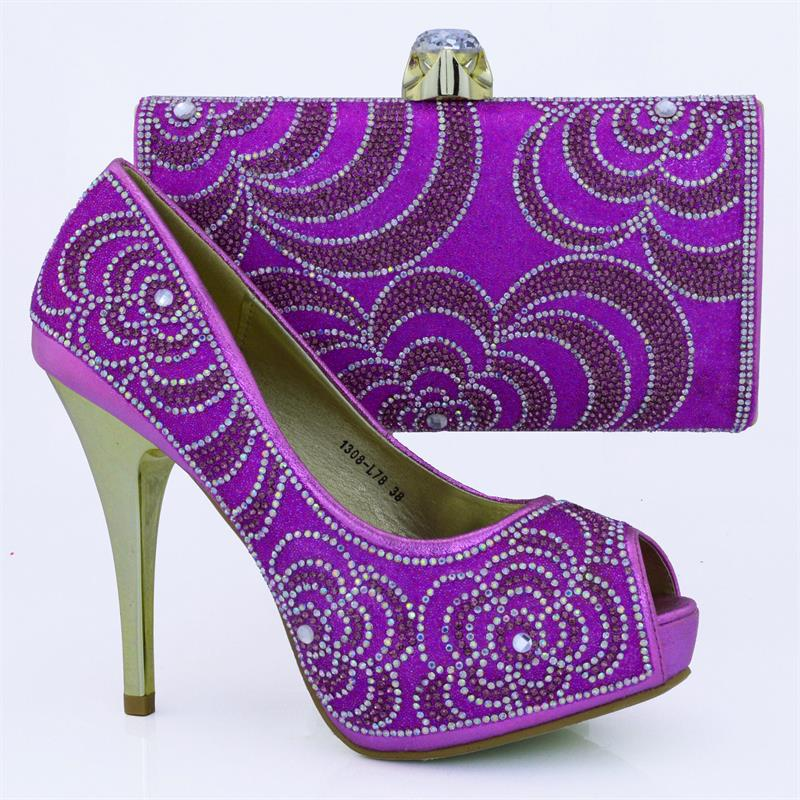 ФОТО 2016 Italian shoes and bags set for 1308-L78 purple size 38-42,High quality material shoes and bag set for African wedding.