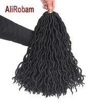 AliRobam богиня Faux locs вьющиеся плетеные пряди чёрный; коричневый блондинка синтетический 18 дюймов длинные плетения волос 24strands/пакет