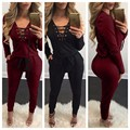 2016 Autumn Winter Lace Up Rompers Women Jumpsuit Knitting Grey Red S-XL Bodysuits Pockets Long Sleeve Jumpsuits Plus Size