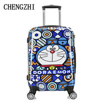 CHENGZHI 2024 Inch Cartoon robot cat lovely PC Rolling Luggage Child travel Suitcase on wheels