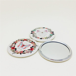 1pc Pink Butterfly Flower Girl mini pocket makeup mirror cosmetic compact mirrors espelho de maquiagem espejos de bolsillo