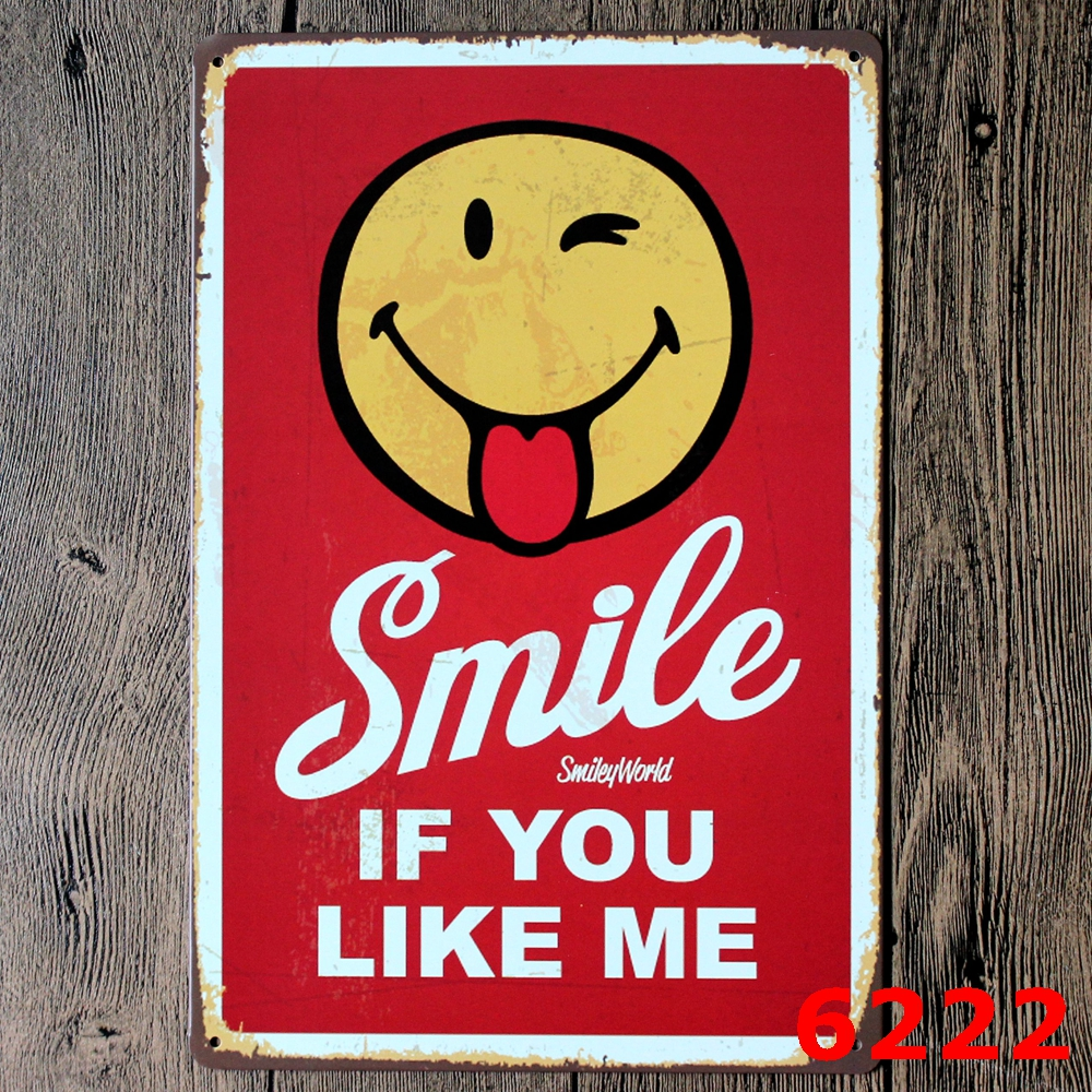 Unique Smiling Face Sign Logo Plaque Vintage Metal Painting Wall Sticker Iron Sign Boarddecorative Plates Poster Wholesale Painting Calligraphy Smiling Face Sign Logo Plaque Vintage Metal Painting Wal