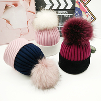 2018 True raccoon ball hat female autumn winter thick wool knitted wool hat Korean version of students color thermal fur gorros