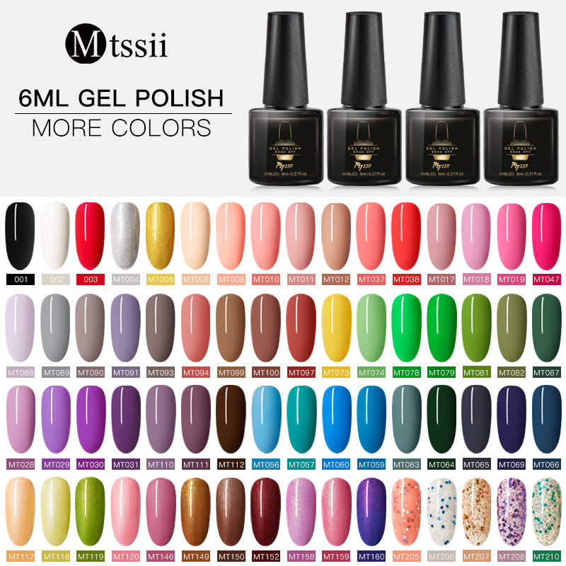 Mtssii 6 Ml Warna Gel Nail Polish Semi Permanen Pernis Hybrid Rendam Off UV LED Gel Nail Polish Base Coat tidak Ada Lap Top Gel Polandia