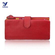 Mode neue frauen marke geldbörse für iphone rfid brieftasche aus echtem leder weibliche dame kupplung feste rot schwarz brieftasche