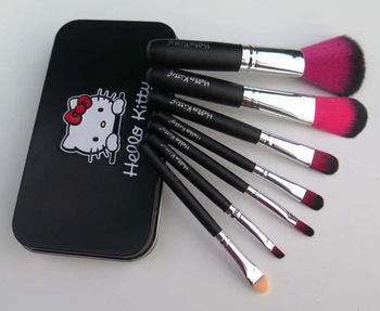 7 pcs /sets Hello Kitty KT Lovely cartoon Pink Make up brush Packaging Box yey-7bB