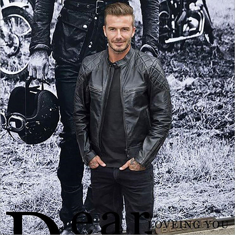 Genuine Fashion David Beckham Leather Men Jacket Black