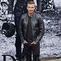 Moda David Beckham Hombres de la Chaqueta de Cuero genuino Negro Soporte de Cuello Slim Fit de piel de Oveja Genuina de Los Hombres Chaquetas de La Motocicleta