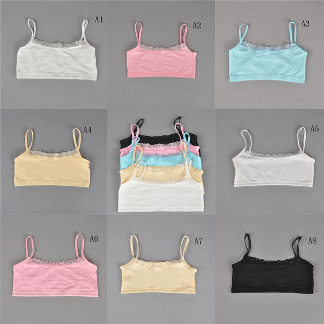 1pc Teenage Underwear Girls Cutton Lace Wireless Young Training Bra For Kids And Teens Puberty Clothing For Girl Children